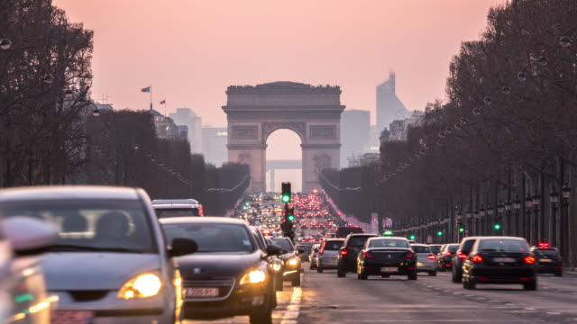 timelapse: arc of triomphe champs elysees paris city, france - avenue des champs elysees stock videos & royalty-free footage