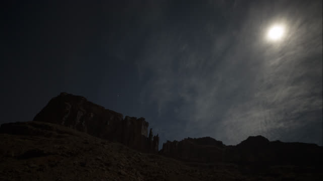 Timelapse as clouds pass and stars come out over Big Bend Butte and Lighthouse Tower in Moab.