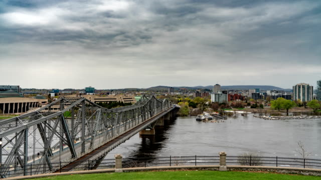 timelapse at alexandra bridge on ottawa river in ottawa, canada - ottawa stock videos & royalty-free footage