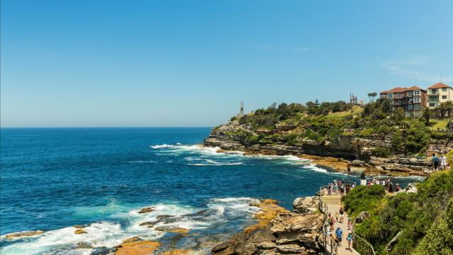 Timelapse at Bondi Beach, Sydney, with people walking the coastal trail in 4K
