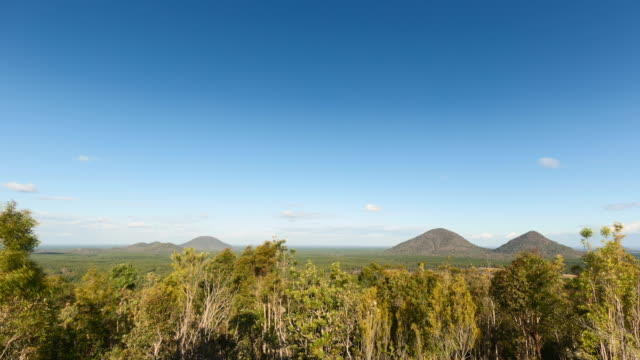 Timelapse at Glass House Mountains, Australia, with a few clouds moving fast and amazing views