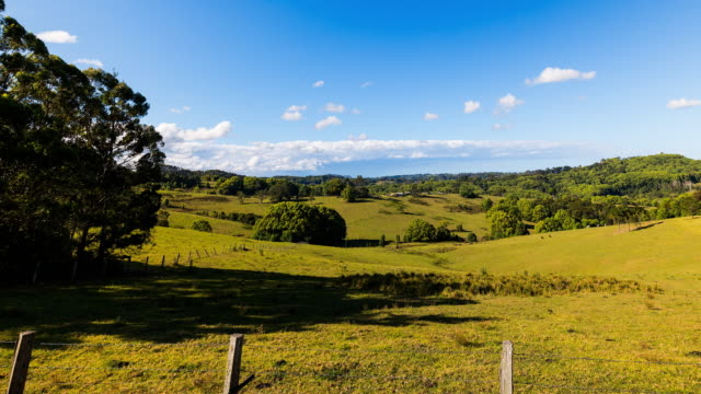 4K Timelapse at hinterland of Byron Bay, New South Wales, Australia wide open landscape