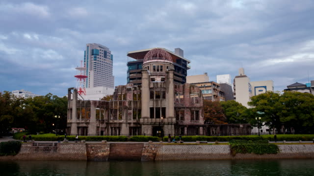 time-lapse at hiroshima atomic dome ,japan - 1945 stock videos & royalty-free footage