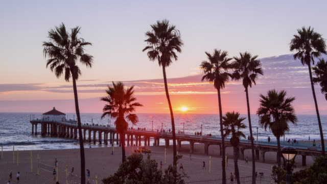 timelapse at manhattan beach in california. - los angeles county stock videos & royalty-free footage