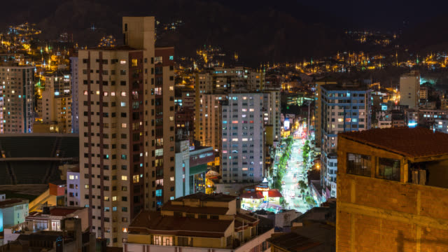 timelapse at night of la paz in bolivia - la paz bolivia stock videos & royalty-free footage