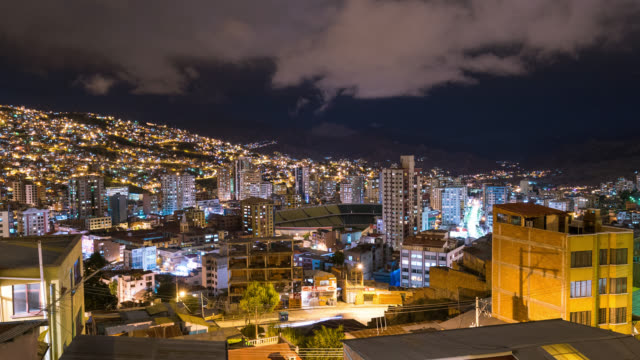 Timelapse at night of La Paz in Bolivia