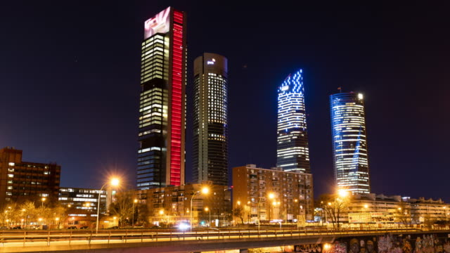 Timelapse at night of the iconic Four Towers (Cuatro Torres) in Madrid