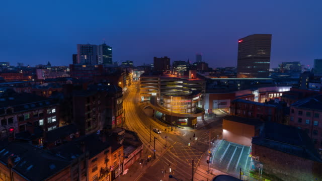manchester: timelapse at sunrise of manchester cityscape - manchester england stock videos & royalty-free footage