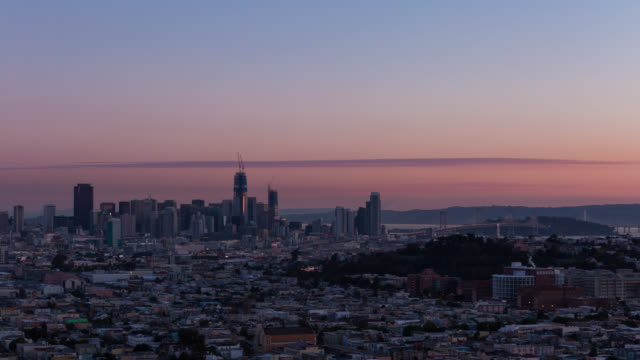 SAN FRANCISCO: TimeLapse at sunrise of San Francisco skyline from Bernal Heights Park
