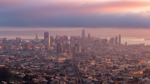 san francisco: timelapse at sunrise of san francisco skyline from twin peaks - san francisco california stock videos & royalty-free footage