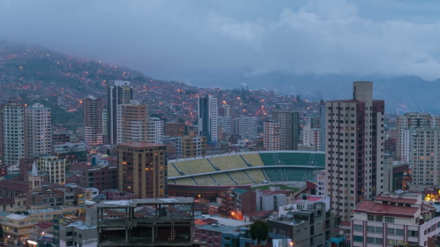 Timelapse at sunset of La Paz in Bolivia