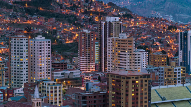 timelapse at sunset of la paz in bolivia - bolivia stock videos & royalty-free footage