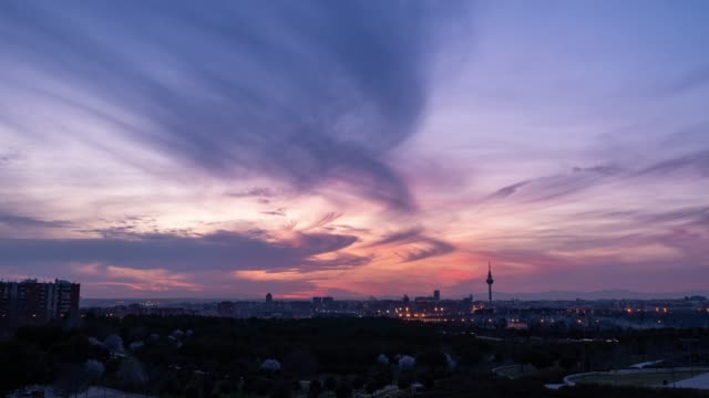 Timelapse at sunset of Madrid and the iconic El Piruli - Torrespaña