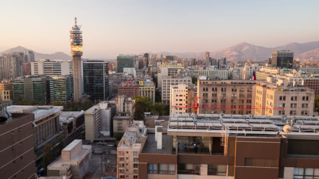 Timelapse at sunset of Santiago de Chile Skyline from roof top