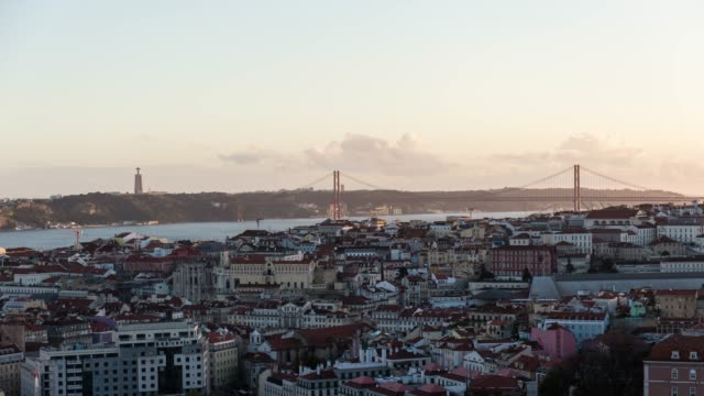 Timelapse at sunset of the Lisbon city from high point of view