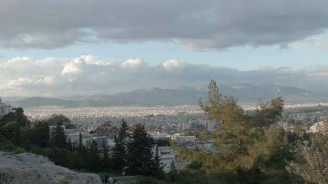 Timelapse - Athens - Greece - View of Athens from the hill of Filopappou