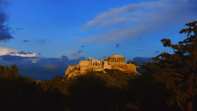 Timelapse - Athens - Greece - View of the Acropolis from the hill of Filopappou at sunset