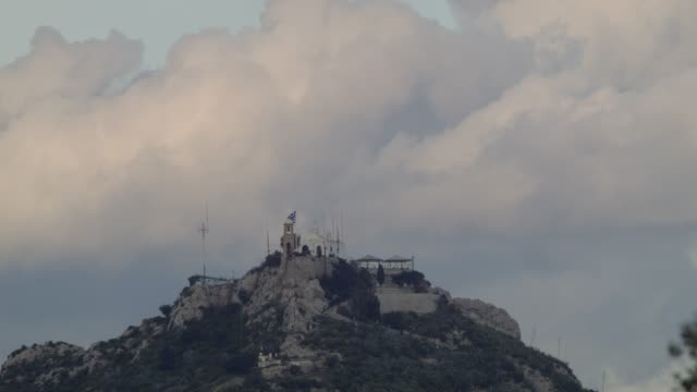 Timelapse - Athens - Greece - View of the hill and the chapel of Saint George Lycabettus