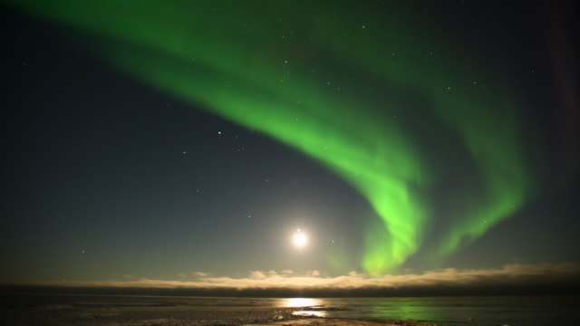 timelapse aurora borealis lights up night sky, canada - stimmungsvoller himmel stock-videos und b-roll-filmmaterial