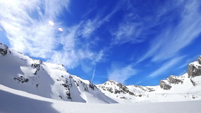 timelapse: austrian alps in kuehtai ski resort - powder snow stock videos and b-roll footage