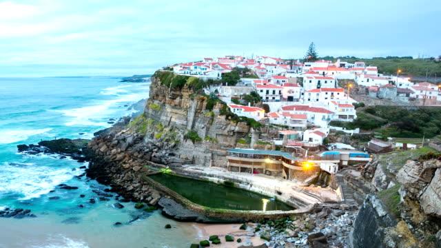 hd タイムラプス: azenhas はマールヴィラージュ夕暮れ、シントラセカテドラルポルトガル - mar点の映像素材/bロール