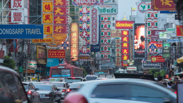 timelapse bangkok chinatown - chinatown stock videos & royalty-free footage