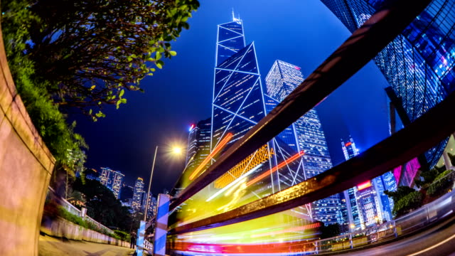 timelapse bank of china in central hong kong business district at night - central district hong kong stock videos & royalty-free footage