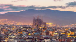 Timelapse Barcelona city skyline and Sagrada Familia at twilight