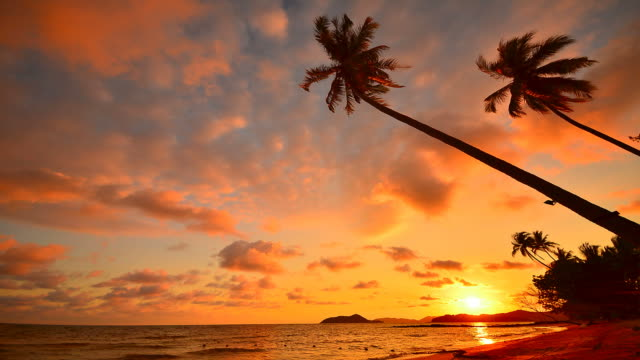 Time-Lapse: Beach at Sunset on Tropical Island
