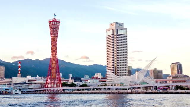 コマ撮り hd: スカイライン、日本と美しい神戸のタワー。 - 観覧車点の映像素材/bロール