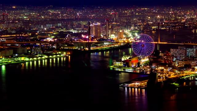 HD Time-lapse: Prachtige nacht uitzicht Baai van Osaka, Japan.