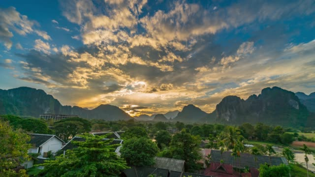 4k time-lapse : beautiful sunrise at viewpoint in vang vieng, laos - laos stock videos and b-roll footage