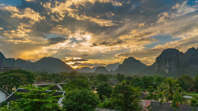 4K Time-lapse : Beautiful sunset at Viewpoint in Vang Vieng, Laos