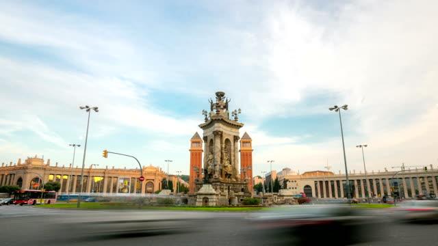 "HD ""Time-lapse"": Becelona Espana plaza Praça de Espanha"