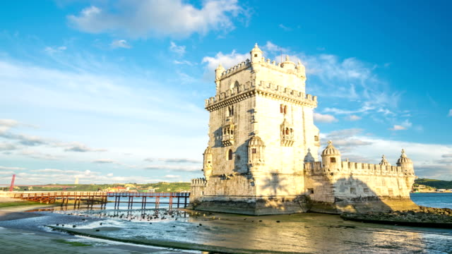 hd timelapse: belem tower ay lisbon portugal - traditionally portuguese stock videos & royalty-free footage