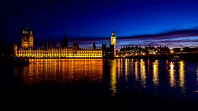 Timelapse Big Ben and House of Parliament in City of London day to night HD 1080