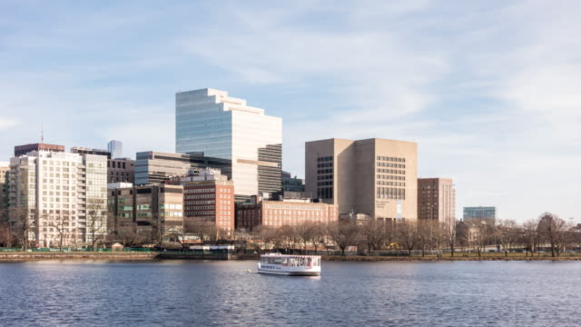 time-lapse: boston downtown skylines building with charles river in ma usa. - river charles stock videos & royalty-free footage