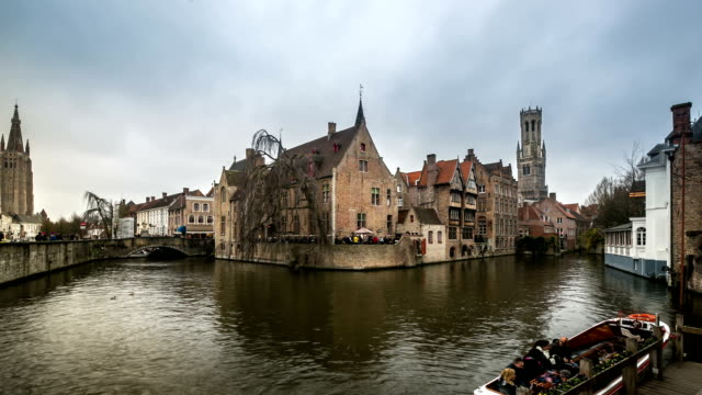 HD time-lapse: Bruges Historic old town and Canal Belgium