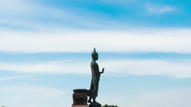 4K Timelapse: Buddha and cloud in sky.