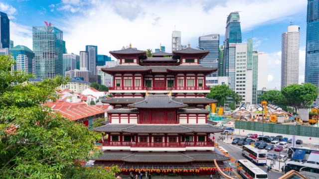 4K Timelapse: Buddha Tooth Relic Temple and Chinatown, Singapore cityscape
