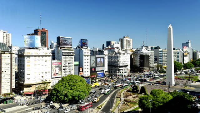 time-lapse :buenos aires, argentina - obelisk stock videos & royalty-free footage