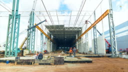 timelapse builders work at new storehouse construction