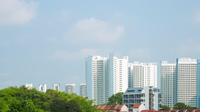vidéos et rushes de 4 k, le temps qui passe : bâtiment et ciel à singapour. - problème de logement