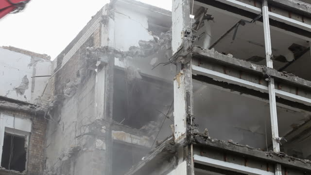 timelapse - building demolition - beton stock videos and b-roll footage