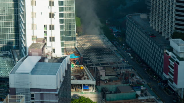 Time-lapse :building on fire with smoke until fire are gone