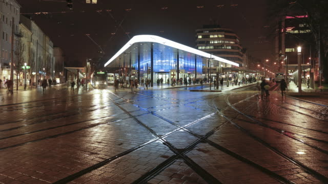 timelapse bus station augsburg, germany - geographical locations stock videos & royalty-free footage