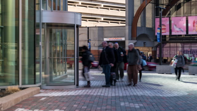 time-lapse: businessman and worker clocking clock to start their work at boston office building, ma usa - building entrance stock videos & royalty-free footage