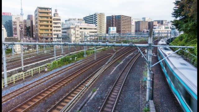 東京のダウンタウンの鉄道駅の時間経過: 混雑 - 駅点の映像素材/bロール