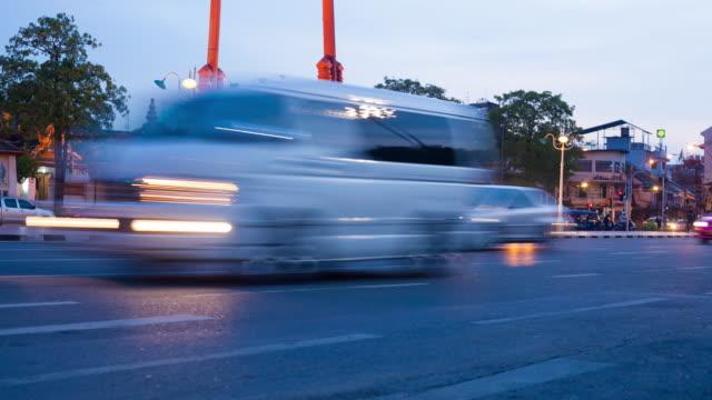 4k time-lapse: car traffic on the road evening. - ironbridge shropshire stock videos & royalty-free footage