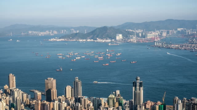 4k timelapse - cargo ships parking at kowloon bay, hong kong - east asia stock videos & royalty-free footage